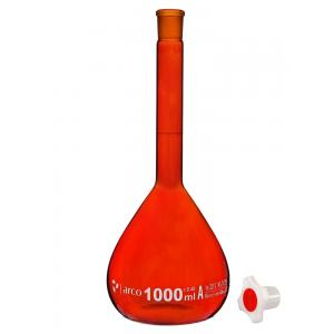 Arco Flask, Volumetric, Class A, With PP Stopper, Amber,Capacity : 500ml