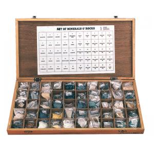 Arco Rocks & Minerals, Set/50, Wooden Showcase